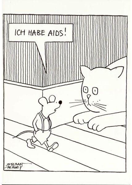 Cartoon Postkarte lustig Katze Maus
