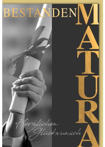 Glückwunschkarte Matura - Dokumentenrolle mit Schleife