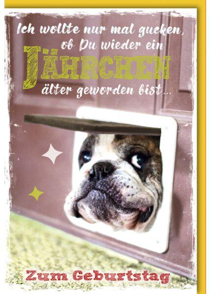 Geburtstagskarte witzig Hundekopf in Katzenklappe