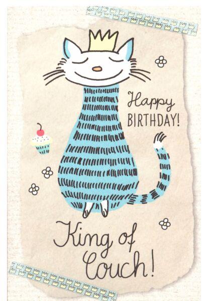 Karte Geburtstag Katze King of Couch