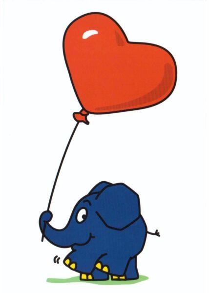 Maus-Postkarte Elefant mit Herz