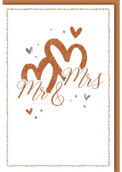 Glückwunschkarte Hochzeit edel Herzen Mr. & Mrs.