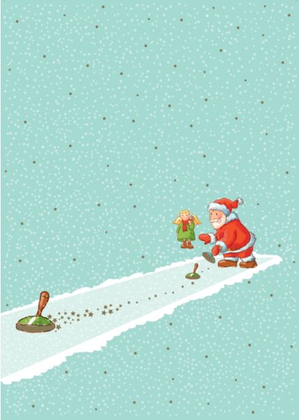 Weihnachtspostkarte Eisstockschießen