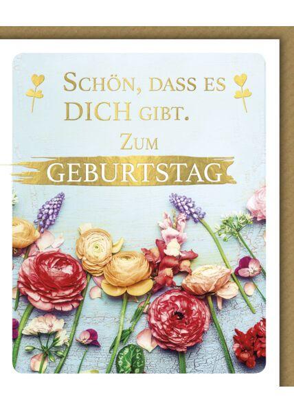 Glückwunschkarte Geburtstag Snapshot Blumen Schön, dass es dich gibt