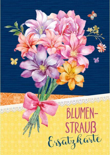 Postkarte Spruch Blumenstrauß Ersatzkarte