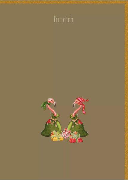 Weihnachtspostkarte Goldfolie 2 Flamingos als Geschenk - Für Dich