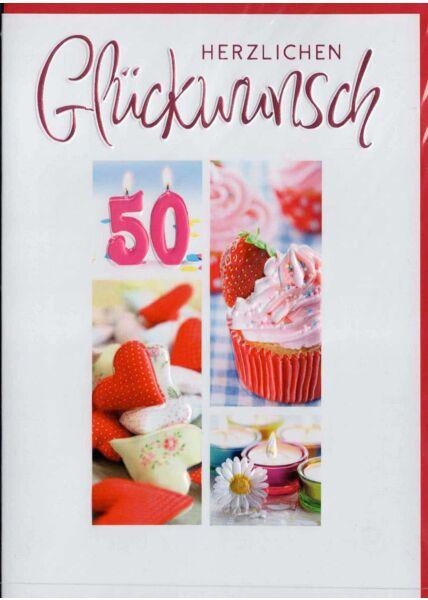 Geburtstagskarte 50. Geburtstag: 50 Kerze brennend