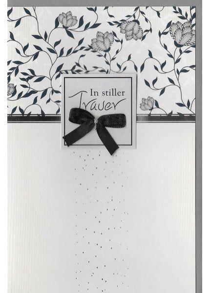 Kondolenzkarte Getrocknete Rose, schwarzes Pergament, mit Silberfolie und Blankoeinleger