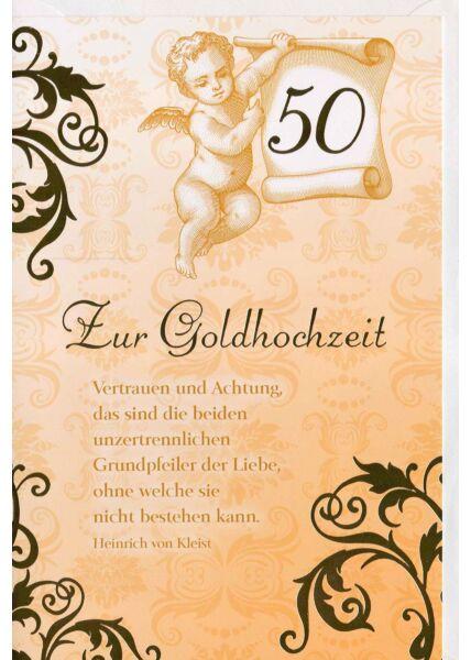 Glückwunschkarte Goldhochzeit Vertrauen und Achtung