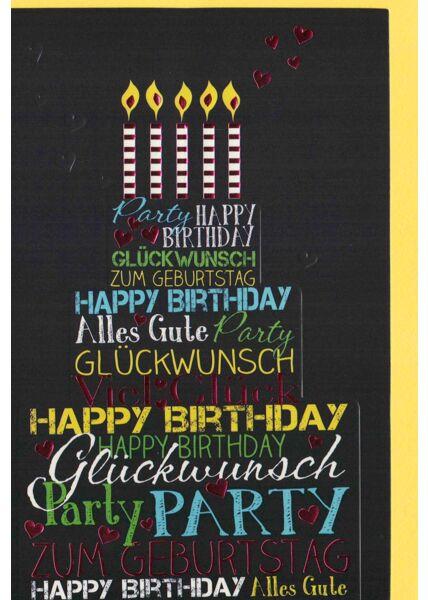 Geburtstagskarte schwarz fünf Kerzen