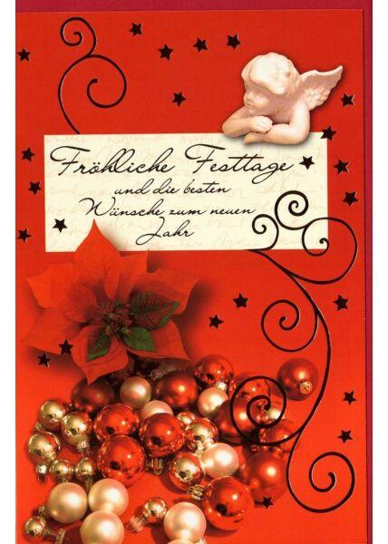 Weihnachtsgrußkarte fröhliche Festtage Engel