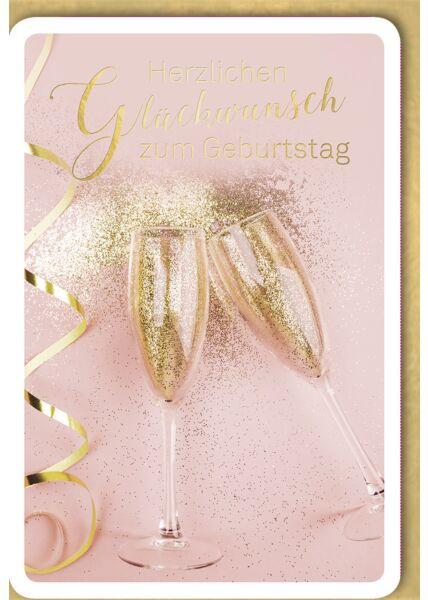 Geburtstagskarte edel Sektgläser mit Gold