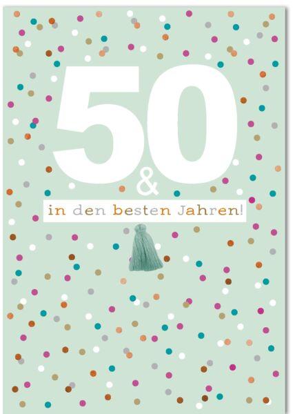 50.Geburtstagskarte - A4, Maxi, XXL bunte Punkte