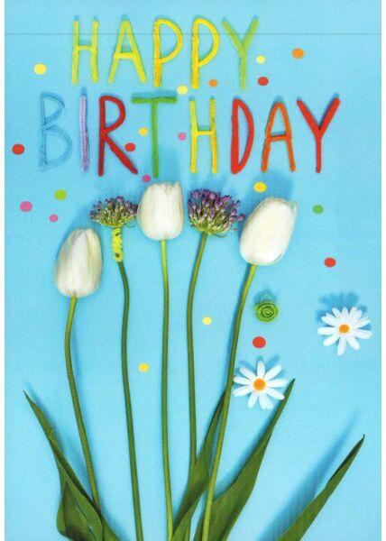 Postkarte Geburtstag Blume Happy Birthday blau