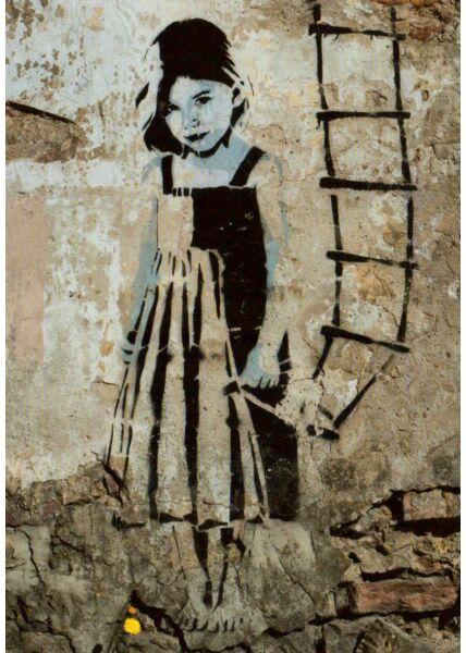 Kunstpostkarte Little Girl Streetart