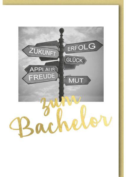 Glückwunschkarte zum Bachelor Schilderbaum