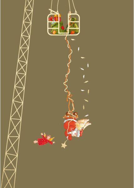 Weihnachtspostkarte Bungee-Engel Santa
