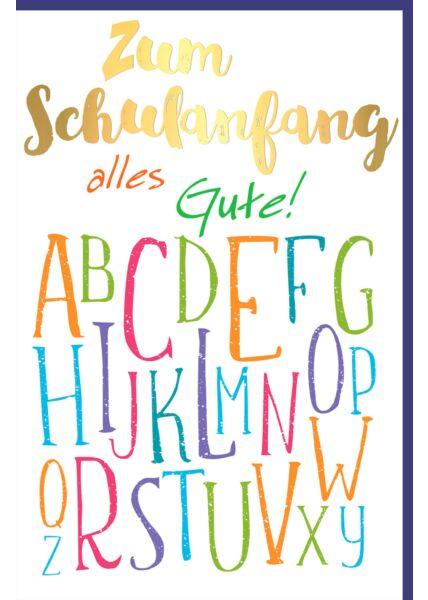 Glückwunschkarte zur Einschulung Buchstaben bunt Schulanfang