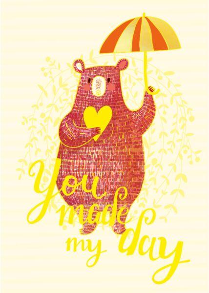 Postkarte Liebe You made my day