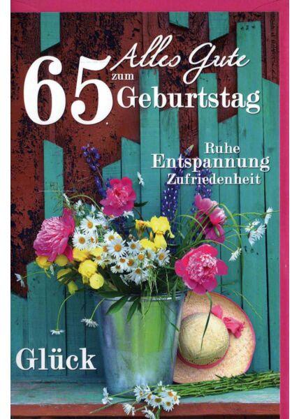 Geburtstagskarte 65 Gebrutstag Land Natur: türkis