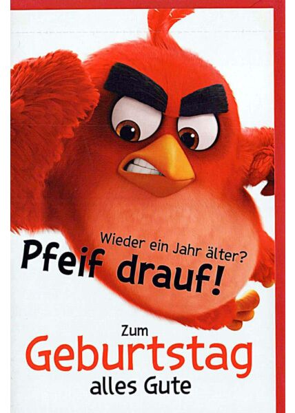 """Geburtstagskarten für Kinder Angry Birds """"Pfeif drauf"""""""