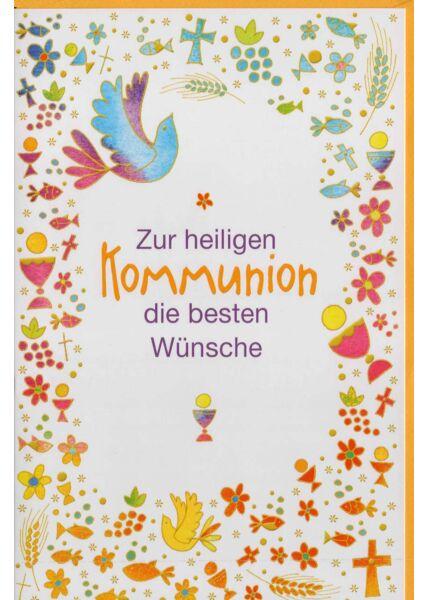 Grußkarte Kommunion mit gelben Kuvert