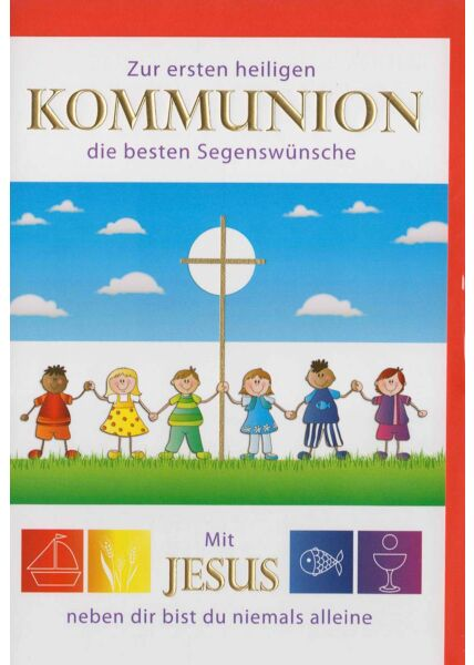 Hochwertige Kommunionskarte: Mit Jesus neben dir