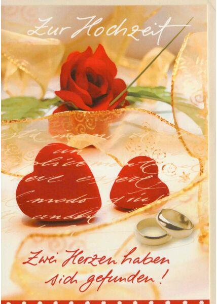 Glückwunschkarte Hochzeit zwei Herzen haben sich gefunden