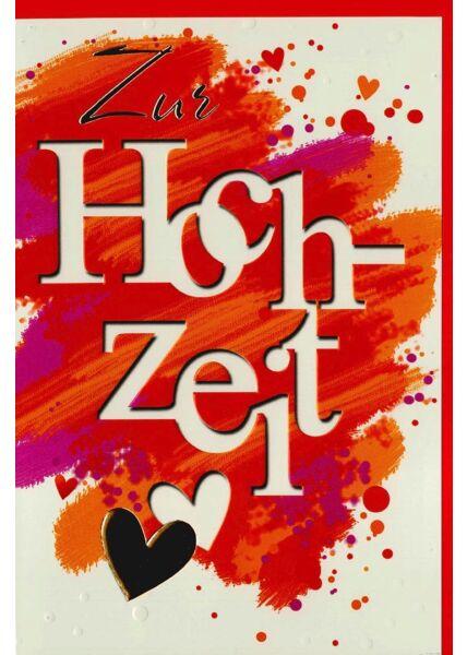 Karte Hochzeit Liebe Herzen Kuvert rot