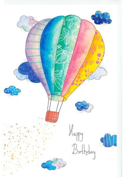Karte Geburtstag Heißluftballon, Wolken, Naturkarton, mit Goldfolie und Blindprägung