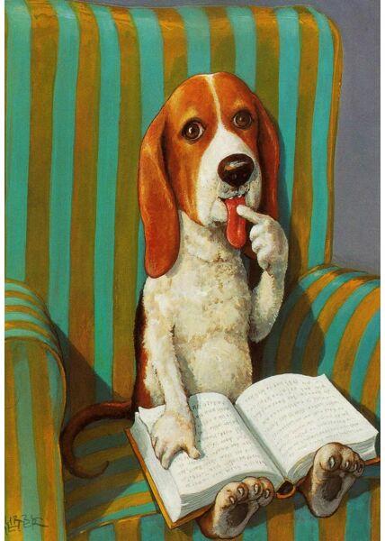 Postkarte Illustration Hund Sessel Buch