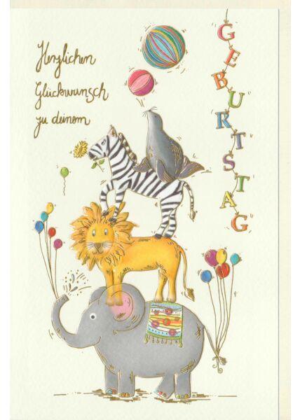 Kinder Geburtstagskarte Elefant, Löwe, Zebra, Robbe bilden eine Räuberleiter, Naturkarton, mit Goldfolie und Blindprägung