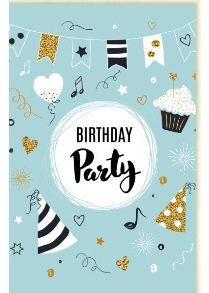 Glückwunschkarte Geburtstag Girlande, Partyhüte, mit Glimmer