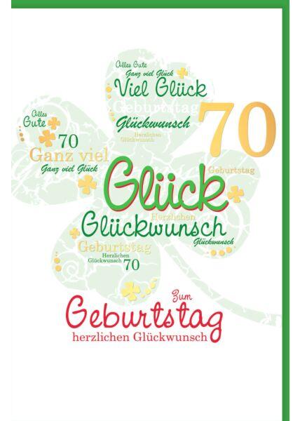 Geburtstagskarte 70 Kleeblatt herzlichen Glückwunsch