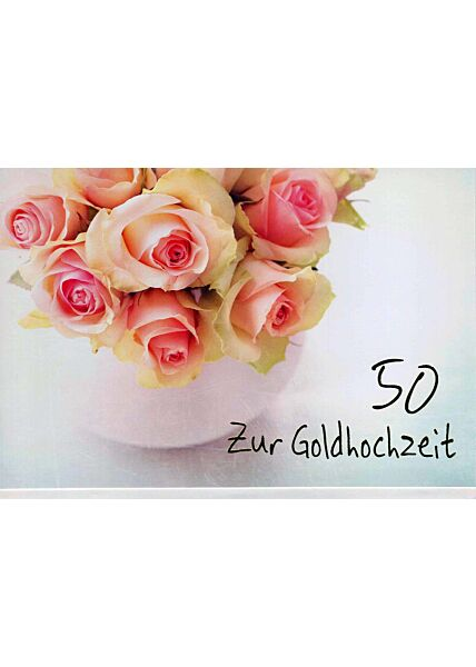 Goldhochzeit: Vase mit Rosen