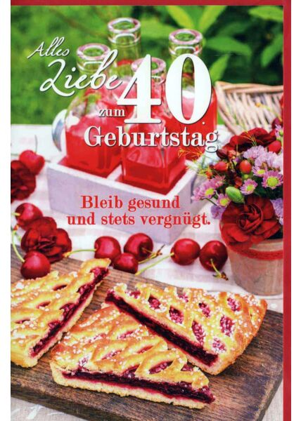 Geburtstagskarte 40 Gebrutstag Land Natur