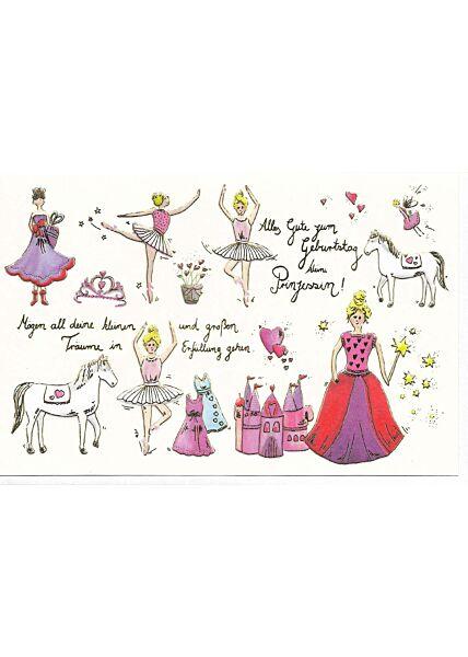 Glückwunschkarte Geburtstag Frauen hochwertig Prinzessin