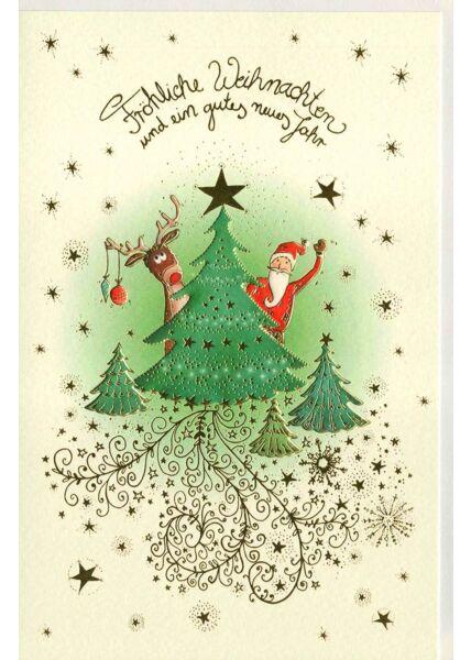 Weihnachtsgrußkarte Naturkarton Nikolaus Elch Baum
