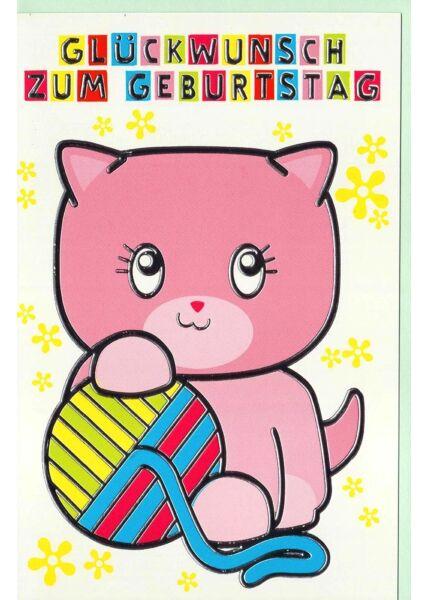 Geburtstagskarte Kinder Katze Wolle