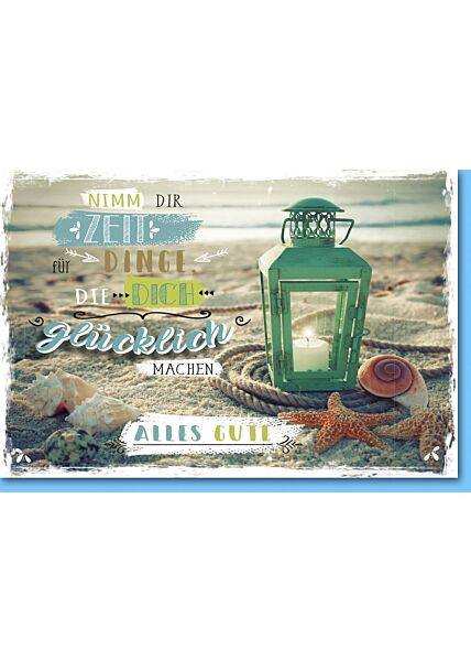Grußkarte Glück Laterne am Strand