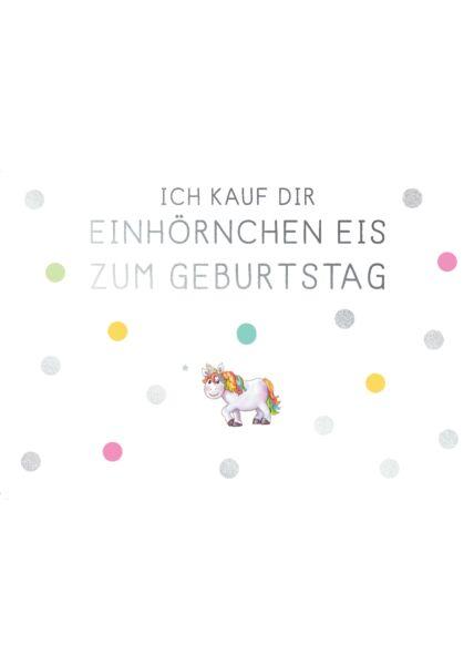 Geburtstagspostkarte Spruch Einhörnchen Eis zum Geburtstag