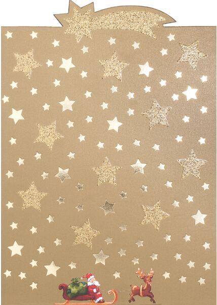 Weihnachtspostkarte Komet u. Schlitten mit W-mann