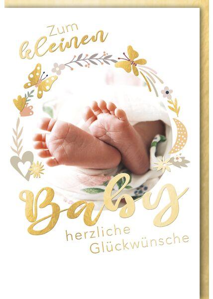 Glückwunschkarte zur Geburt Baby Zum kleinen Baby Füße