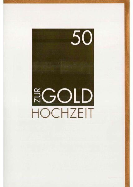 Glückwunschkarte zur Goldhochzeit mit Folienprägung