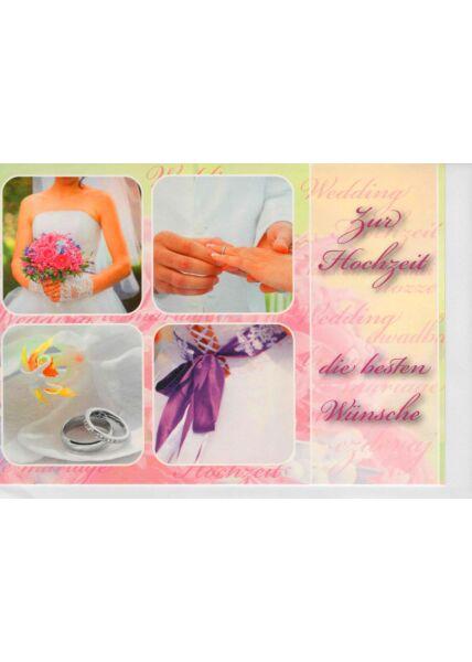 Glückwunschkarte Hochzeit mit vier kleinen Hochzeitsfotos