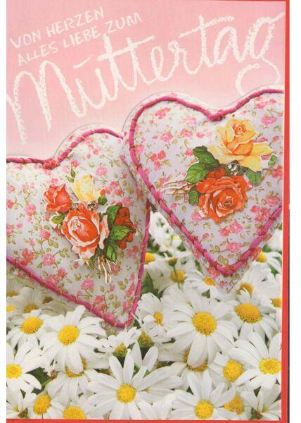 Schöne Muttertag Grußkarte: zwei Herzen