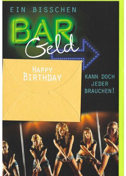 Geburtstagskarte mit Kuvert für Geld Mann Bargeld