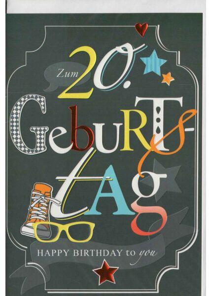 Geburtstagskarte 20 Schuh und Brille