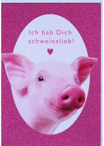 Grußkarte Liebe Schwein niedlich