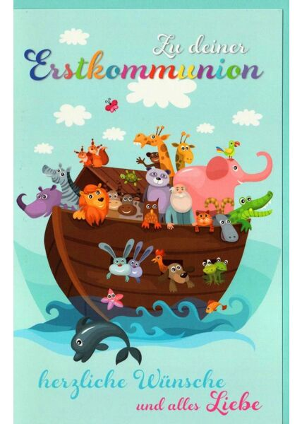 Karte Erstkommunion Schiff Tiere